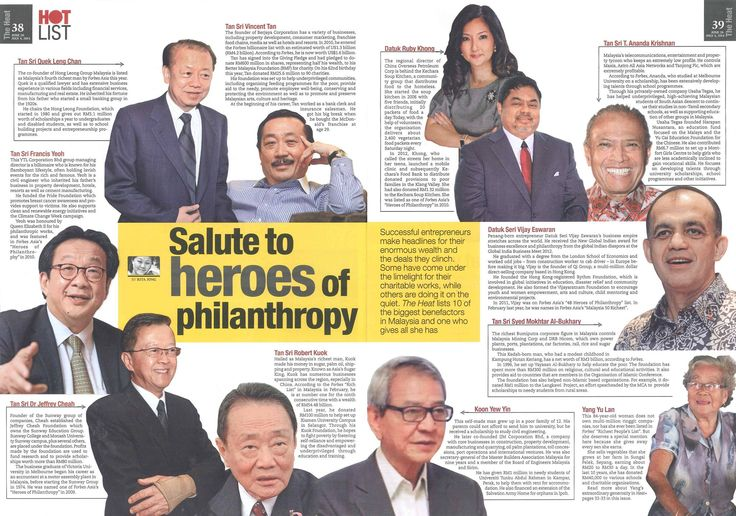"The Heat, a weekly Malaysian newspaper covering social, economic and other topical issues, recently published a story titled ""Salute to heroes of philanthropy"". I am truly honoured to have been featured here alongside other successful Malaysian entrepreneurs who have all made headlines for their charitable work."