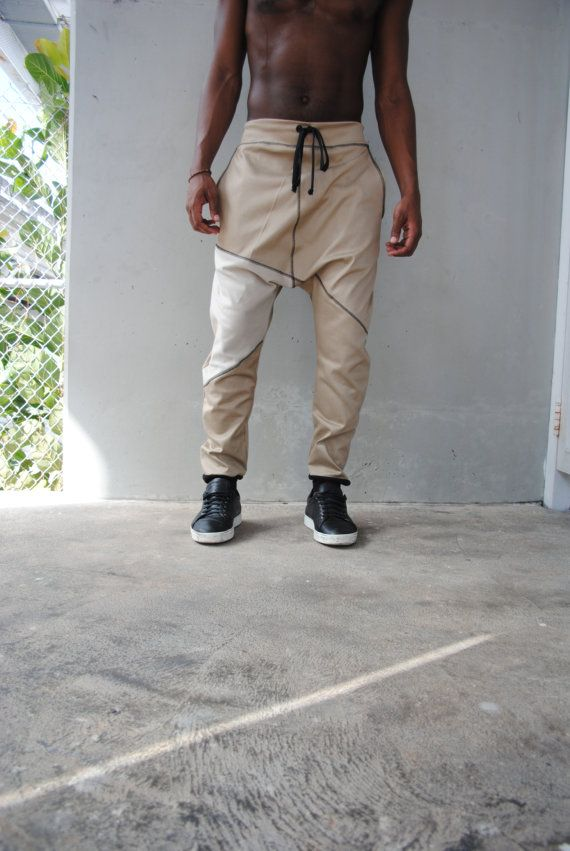 Tan, Beige Denim Drop Crotch Harem Pants / Denim Joggers / Mens Pants / Mens Harem Pants / Three Pockets / Handmade by GAG THREADS