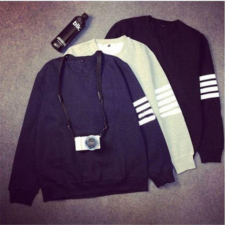 2017 hot sale Korean fashion harajuku style bumper strip simple sweatshirt women hoodies casual couple tracksuits female