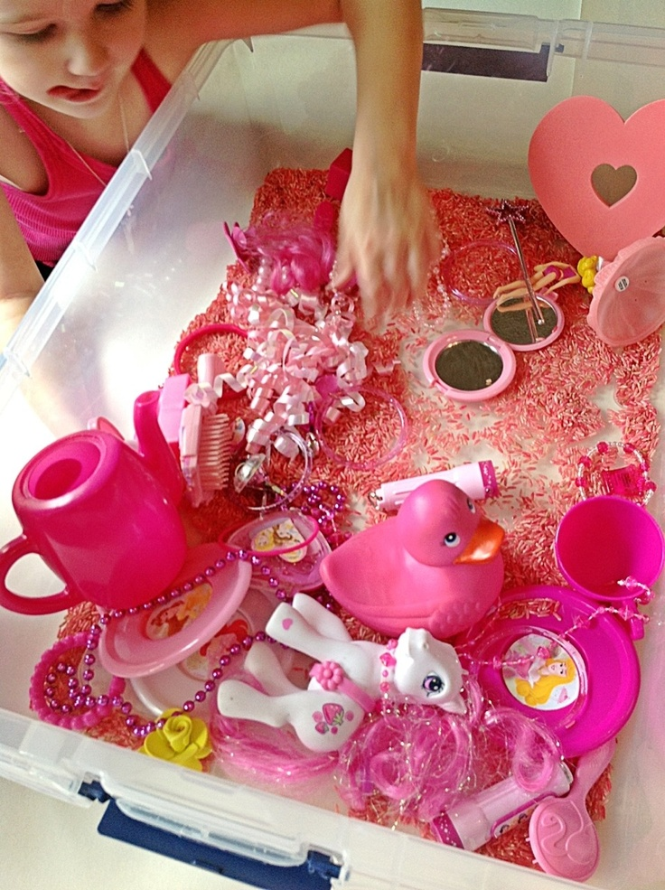 Princess Pink sensory play-- color sensory bins- classroom next year!