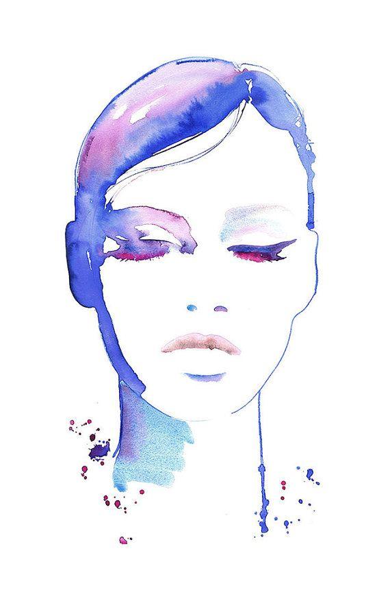 Fashion illustratie, mode Print, aquarel, Fashion Fashion Poster, make-up illustratie, Eyeliner illustratie, Cate Parr, Fashion geschenk