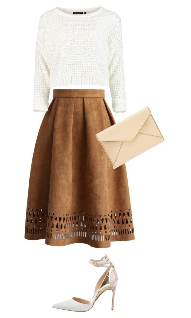 """Midi Skirt Outfit"" by hannawida ❤ liked on Polyvore featuring Chicwish, Manolo Blahnik, Rebecca Minkoff, Clutch, rebeccaminkoff, brown, midiskirt and CropSweaters"