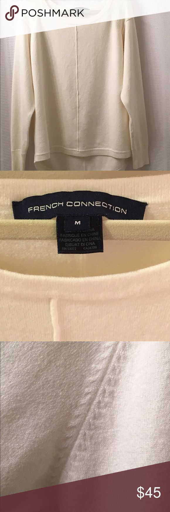 French Connection cream boyfriend sweater Cozy, cream colored French Connection boyfriend sweater. Can be paired with jeans or leggings and boots. Scoop neck, machine wash. Barely worn and no signs of wear. Perfect addition to your winter or fall wardrobe! French Connection Sweaters Crew & Scoop Necks