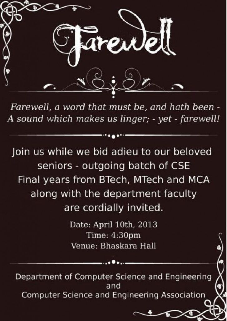 Invitation Card For Farewell Party For Seniors Invitation Card For