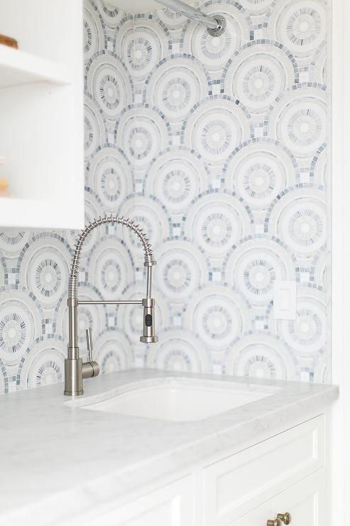 White and blue mosaic tiles