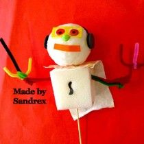 Awesome puppet made by Sandrex in one of my puppet making workshops at Birralee Primary today.
