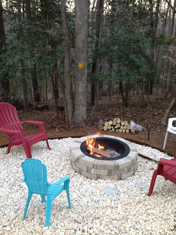 56 best images about backyard ideas on pinterest for Backyard rock fire pit ideas