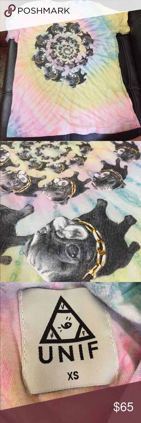 Unif Pug Tie Dye Shirt Willing to trade for a XS/S Pug Life shirt or just sell as price listed! :) Good condition! Love this tee. Super soft material. UNIF Tops Tees - Short Sleeve