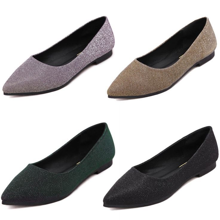 Women Flats Sequin Shoes Slip On Loafers Poited Toe Flats Oxfords Ballet Shoes