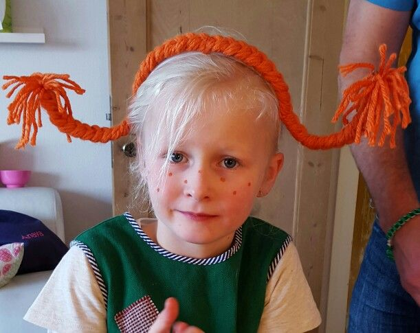Pippi fletninger. Pippi braids for at Pippi party.