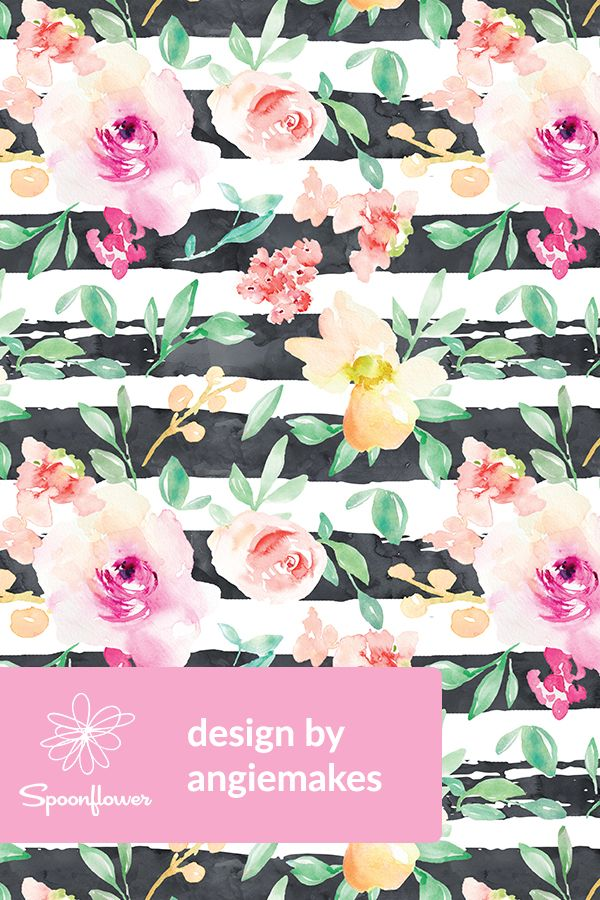 vibrant design modern floral wallpaper. Portadown Scatter With Stripes by angiemakes  Hand painted stripes in black and white with watercolor flowers leaves on fabric wallpaper 201 best Floral Designs Flowers Bouquets Leaves Indie