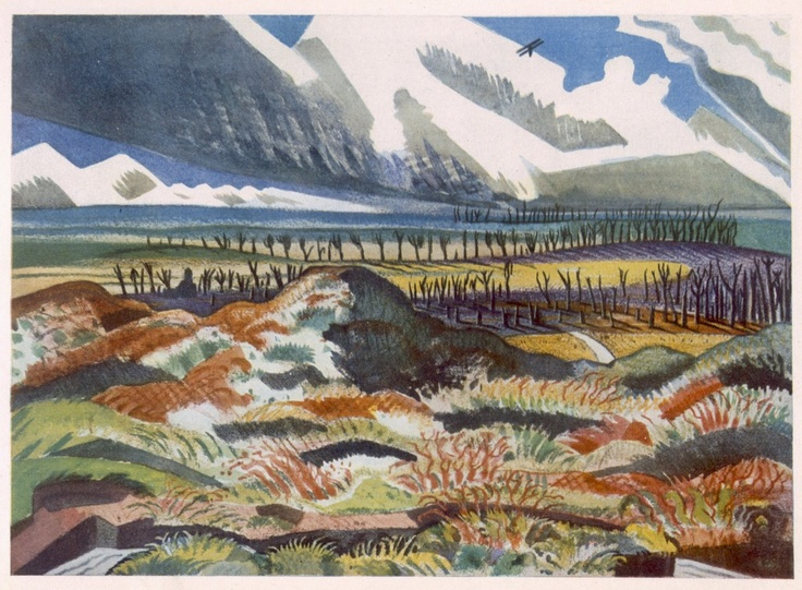 Ruined Country, Paul Nash (late 1917/18). Nash depicted the ruined countryside as a way of carrying a message to the people of Britain of the stark realities of war. It took others many years to be able to describe in words the horrifying scenes they were to witness, but Nash managed to convey the stark brutality of the Great War with the bleakness and carnage caused to nature.