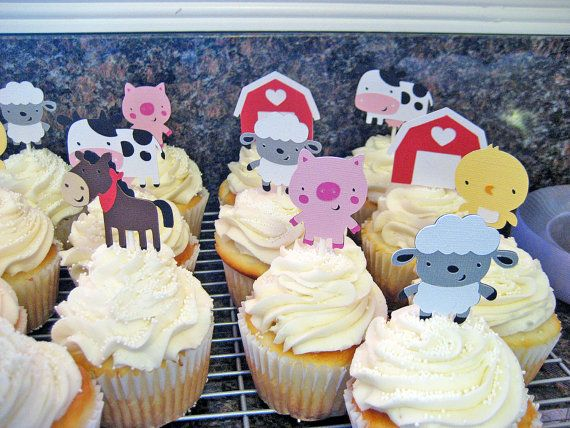 24 Farm Animal Cupcake Toppers, birthday party, farm, baby shower, first birthday