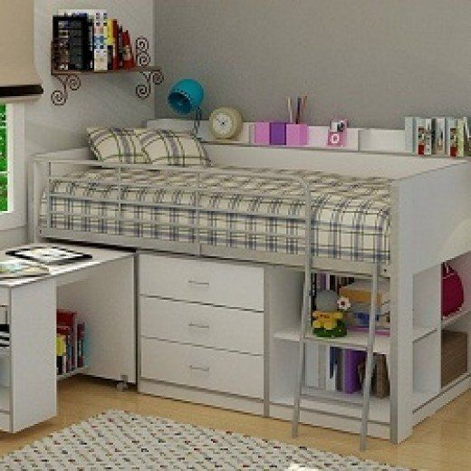 A loft bed with storage and desk is a great space saver for a small bedroom. A loft bed is slightly higher than a standard bed, but not as high or therefore as unsafe as a bunk bed, and puts all the storage (usually a chest of drawers, shelving, and...