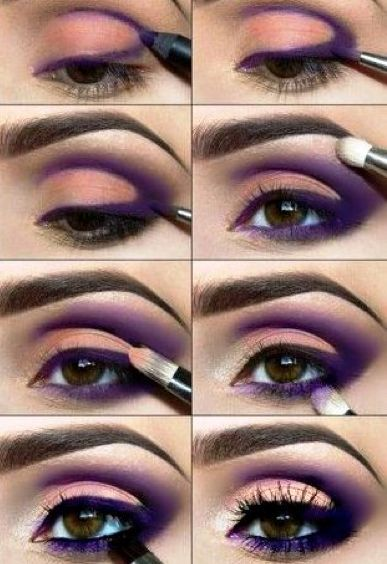 Maquillaje violeta en los ojos