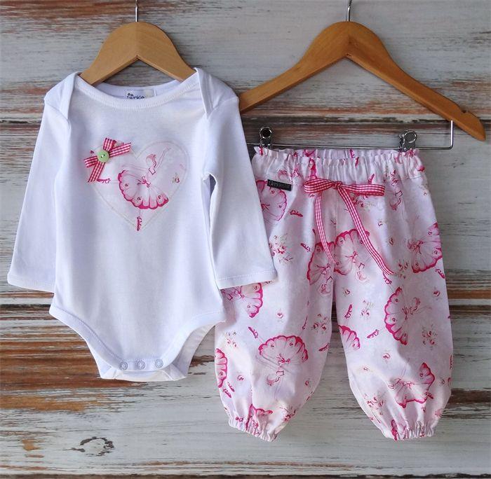 """Pink Ballet"" Set - Applique Onesie and Matching Harem Pants Sizes 0000-00 | Twinkle Star | madeit.com.au #gorgeous #babyclothes #harems #madeitau"
