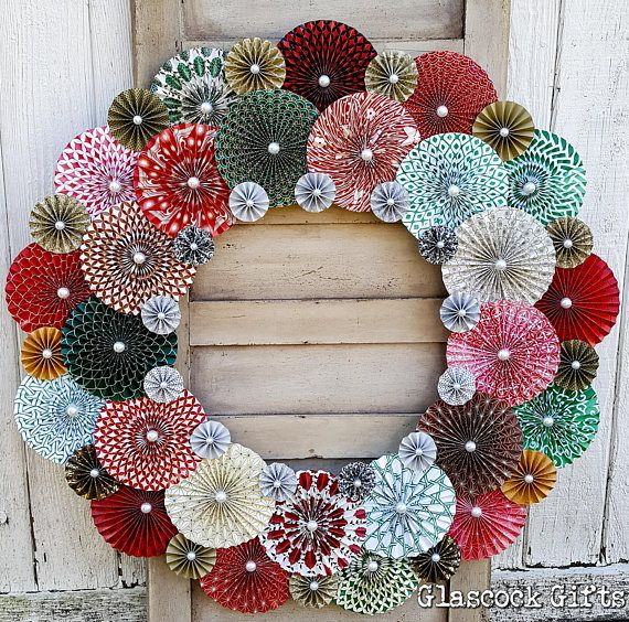 """33"""" paper pinwheel / rosette wreath in Japanese styled red and green prints with gold and silver accents."""