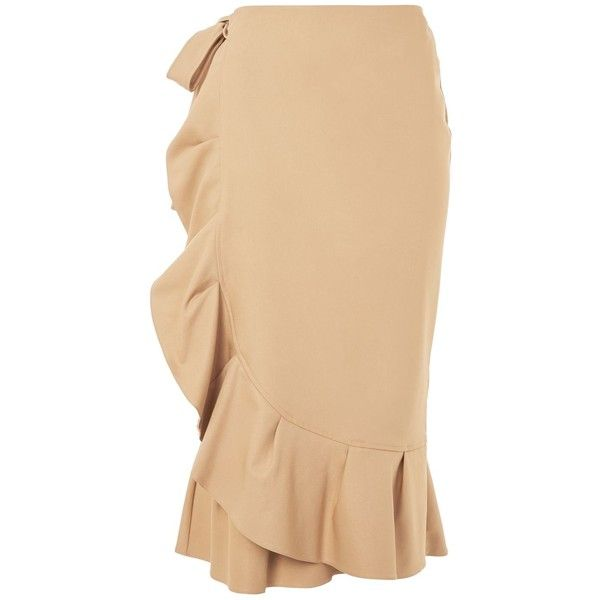 Topshop Petite Cotton Frill Midi Skirt (1.422.225 VND) ❤ liked on Polyvore featuring skirts, camel, frill skirt, ruffled skirts, topshop skirts, midi skirt and calf length skirts