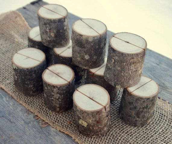 10 rustic place card holders natural wedding table decor table number holders