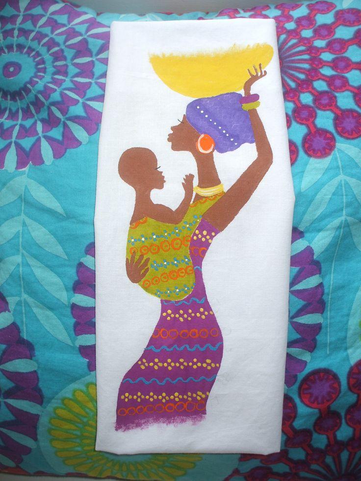 Africana y su beb pintado a mano en tela de algod n para - Pintura para camisetas ...