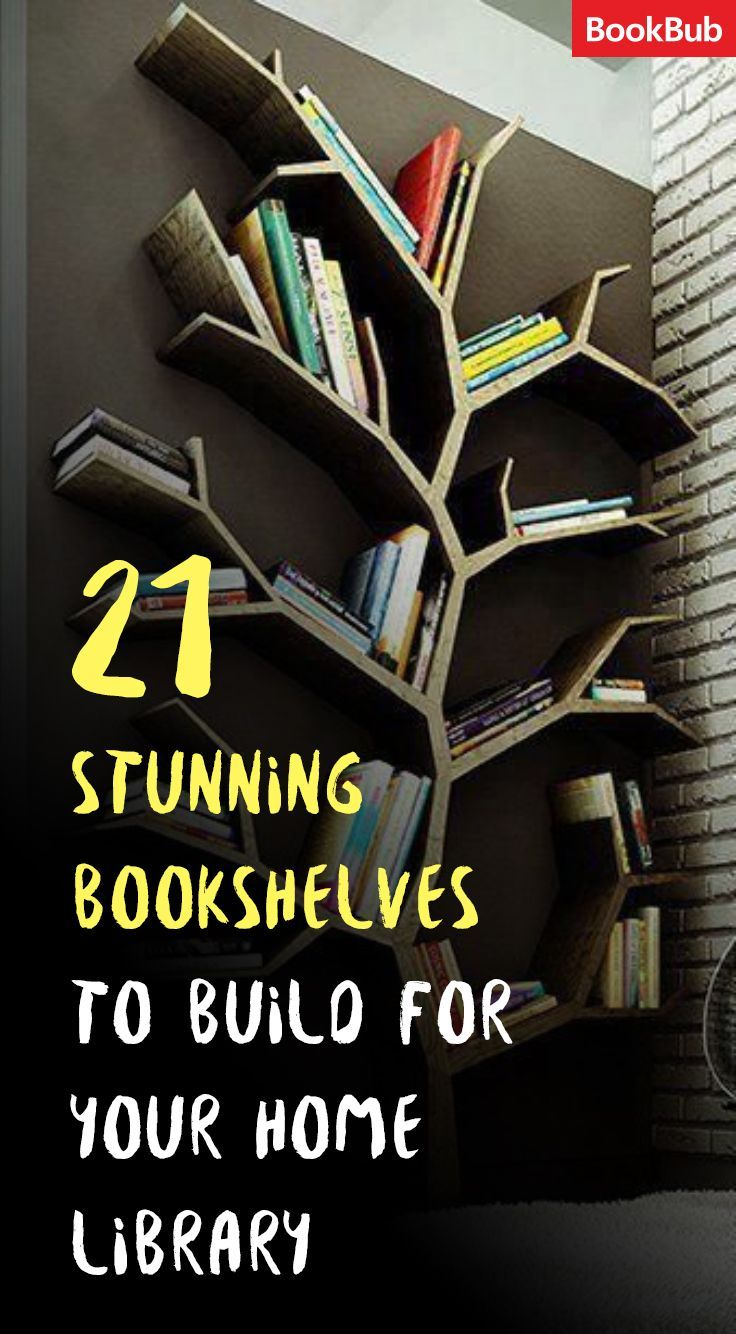 DIY bookshelves for your home library. The featured bookshelf is perfect for a child's room.