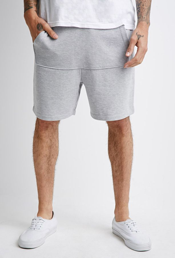 21 MEN Kangaroo Pocket Heathered Shorts