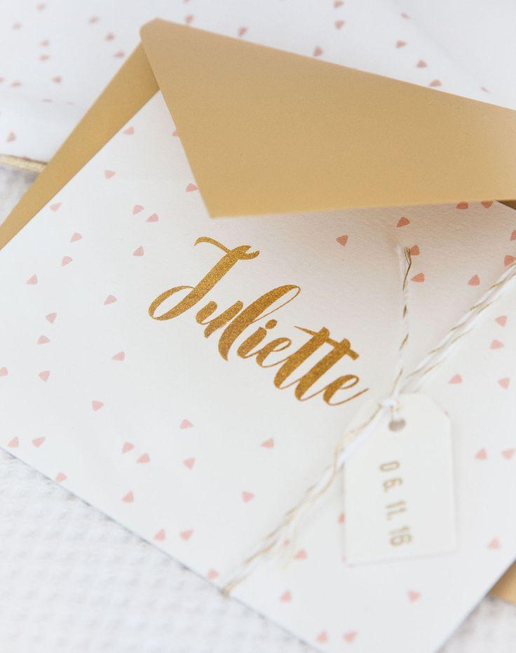 Geboortekaart roze-goud met label en datumstempel (c)Alsjeblief.be