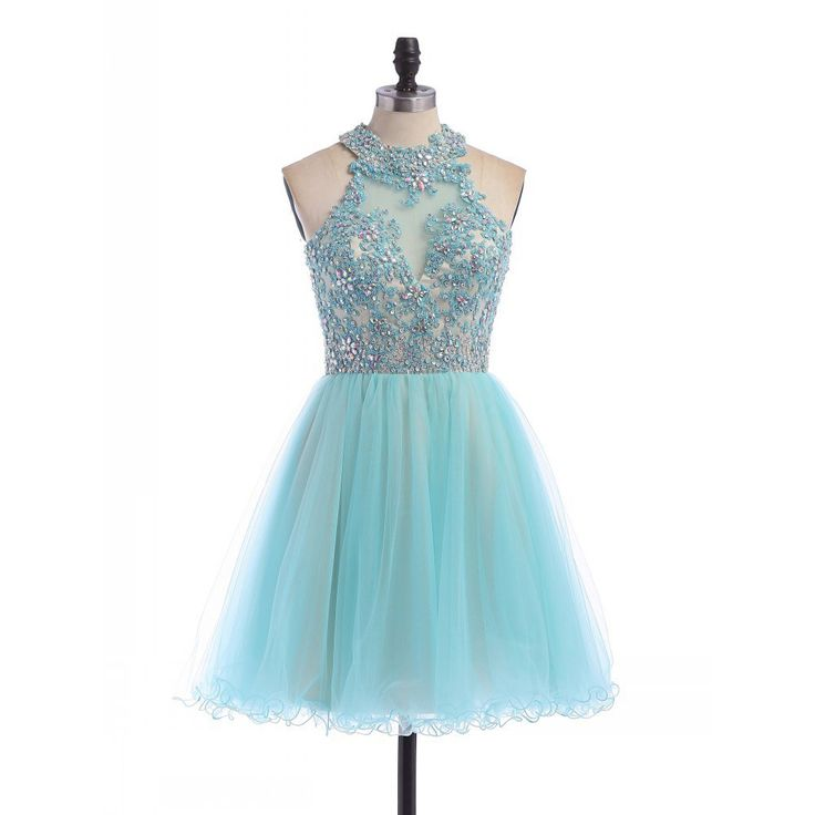 Short Tulle Homecoming Dress Featuring Lace Appliqués and Beaded Embellished Halter Neck Bodice