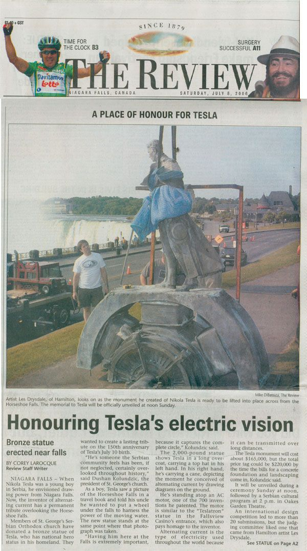 """Newspaper article from """"The Review"""" (Niagara Falls, Canada Newspaper). Photo in the article shows the now famous, Tesla monument sculptor, Les Drysdale, directing the placement of the Tesla monument."""