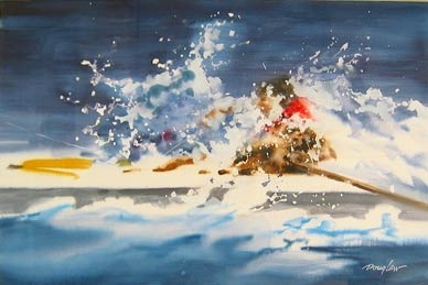 """""""Splash"""" by Doug Lew. 14"""" x 20"""" Watercolor Original. Water everywhere as flailing arms propelling and hopefully controling this white water raft down the boiling river. Info: http://www.spiritofsports.com/product/MSC-A-01497/Splash"""
