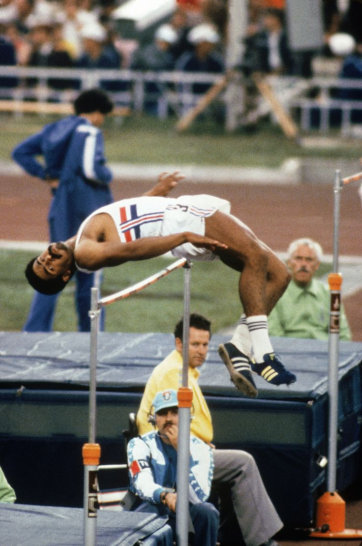 Team GB's Daley Thompson in the Men's decathlon high jump event during the 1980 Moscow Summer Olympic games at the Lenin Stadium in Moscow, Russia.  Thompson went on to win the Gold Medal in this event.
