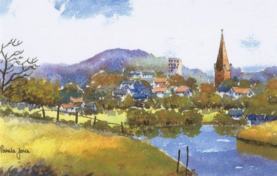Watercolour Print Ross On Wye Herefordshire England