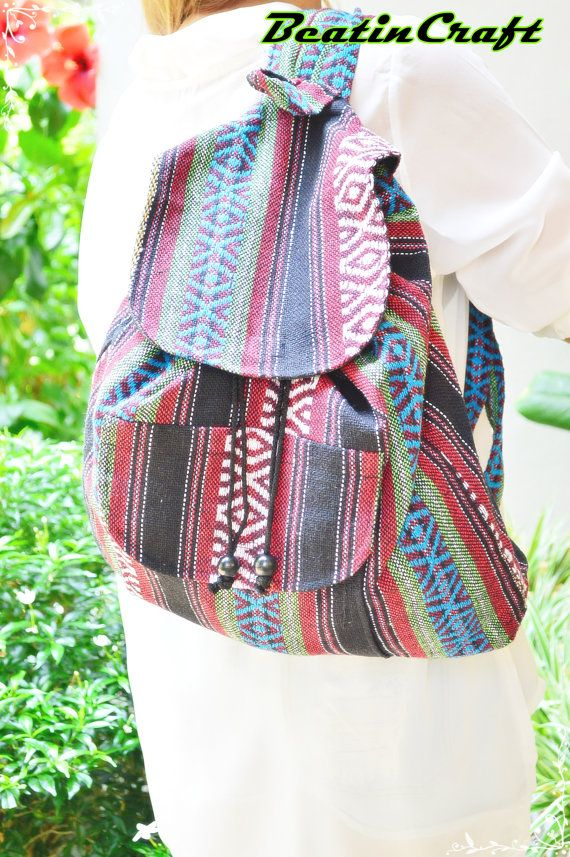 Unique Bohemian Design Hmong Fabric Backpack Large by BeatinCraft