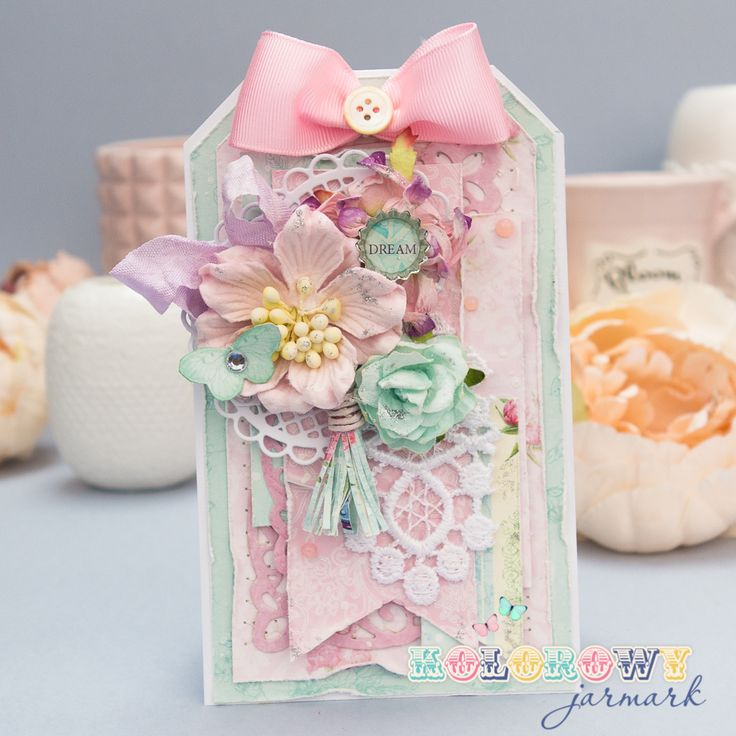 Beautiful, pastel multilayered tag made with ScrapBerry's papers and embelishments. A little sweet shabby chic style. cardmaking, scrapbooking, papercraft