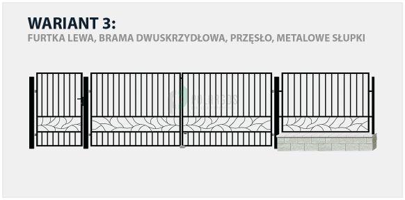Ogrodzenie nowoczesne Genewa w wariancie z bramą dwuskrzydłową i stalowymi słupkami.