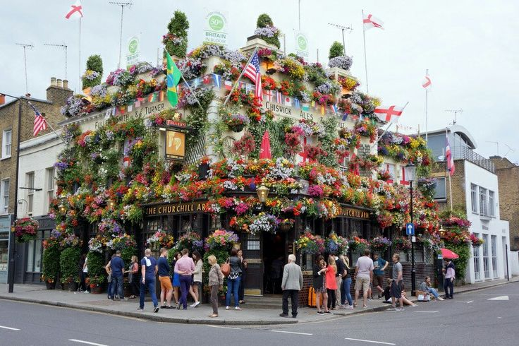 Churchill Arms Pub...covered with container gardens