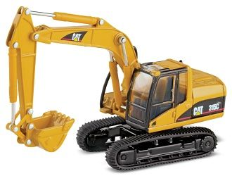 CAT 315C Hydraulic Excavator Diecast Model Excavator by Norscot 55107 This CAT 315C Hydraulic Excavator Diecast Model Excavator is Yellow and features working front lift arm, tracks. It is made by Norscot and is 1:87 scale (approx. 9cm / 3.5in long).  This budget small scale model has most of the working features found on the 1:50 scale models - great value.  #Norscot #ConstructionModel #CAT