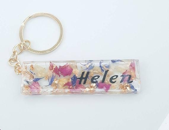 New Car Gift Car Accessories Resin In The UK Pink and Blue Petals With Gold Leaf Letter Keyring
