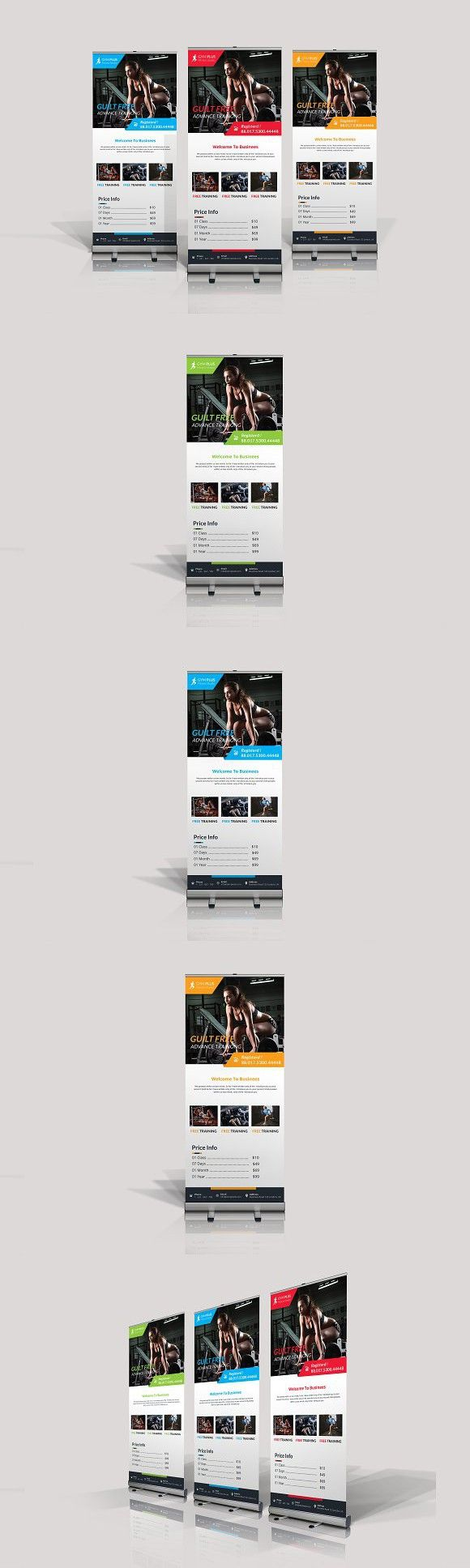 Gym Fitness Roll Up Banner. Stationery Templates
