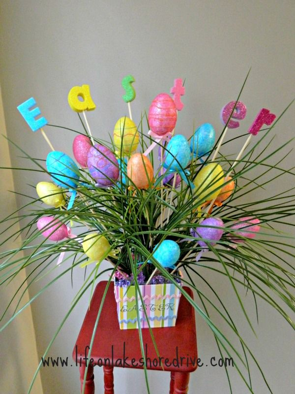 DIY Easter Egg Spring Decor Arrangement