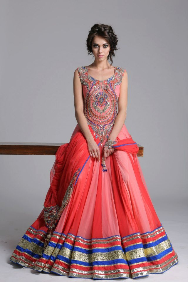front of bright lengha gown