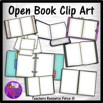 Open books and folders clip art - color and black line