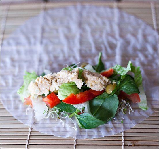 Easy Vegan Cold Rice Paper Rolls With Chickpea Tuna Grilled Portobello Calm