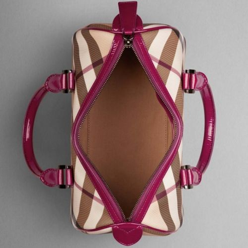 Burberry Nova Check Bowling Bag Raspberry Outlet | Burberry Outlet Online 100% Authentic Quality!