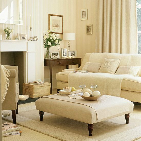 Luxury living room  To create luxury in your living room, use mother-of-pearl accessories from Emily Readett-Bayley, contrasted with a dark-wood side table. Choose a neutral background with soft furnishings and sofa from Laura Ashley; these contrast beautifully with oatmeal-linen curtains, accessorised with pale mohair throws and silk cushions. Neutral on neutral