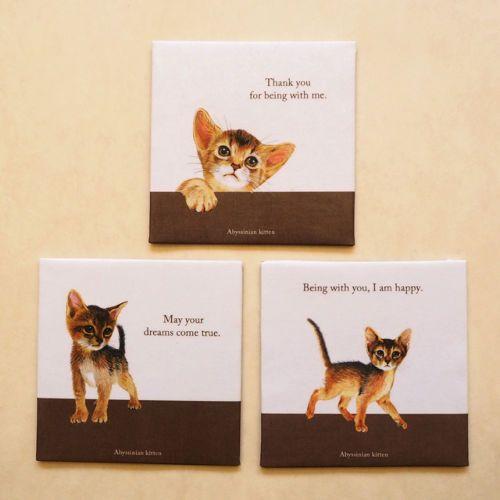 アビシニアン コースター(3枚セット) | 猫汕雑貨店 (手作り猫雑貨)