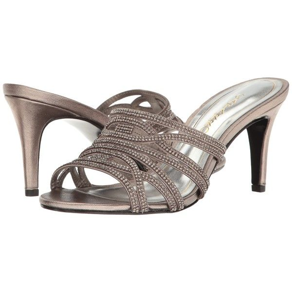 Caparros Impulse (Mushroom Metallic) High Heels ($85) ❤ liked on Polyvore featuring shoes, sandals, metallic sandals, open toe sandals, caparros sandals, embellished sandals and high heeled footwear