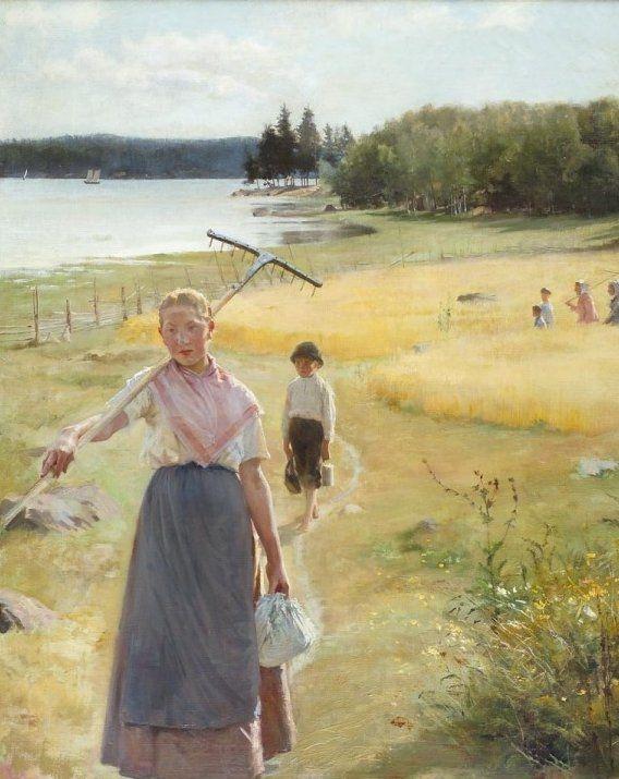 Girl with a Rake (1886), study for August ; Girl with Rake, by ALBERT EDELFELT - oil on wood - (1854-1905) - Haravatyttö (1886), luonnos - Ateneumin taidemuseo