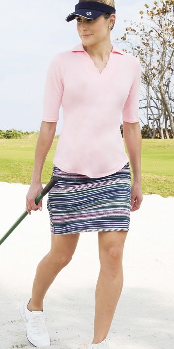 Check out what Lori's Golf Shoppe has for your days on and off the golf course! Paloma (Begonia & Aurora Stripe) JoFit Ladies & Plus Size Golf Outfits (Half Sleeve Shirt & Skorts)
