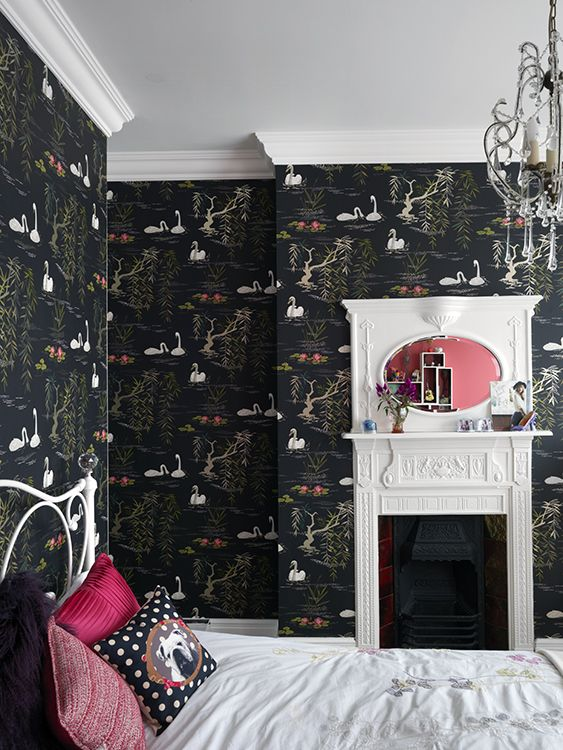 Crazy cool kids bedroom with incredible black wallpaper